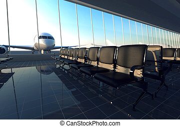 Airport. - Modern airport terminal with black leather seats...
