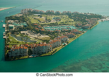 Fisher Island in Miami - An aerial view of the Fisher Island...