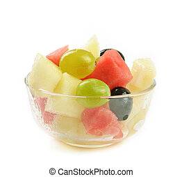 Fruit salad with melon, grape and watermelon, isolated on...