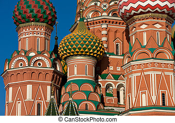 Detail of the St Basil Cathedral on Red square in Moscow,...