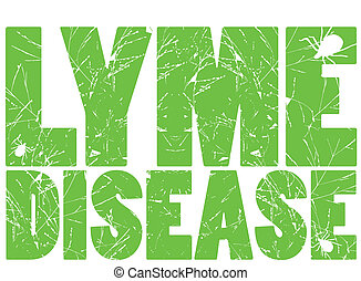 Lyme Disease in green - The words: Lyme Disease with ticks...