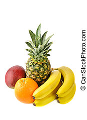 fresh tropical fruits: banana, mango, pineapple, orange,...