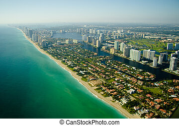 Aerial view of seashore in Miami