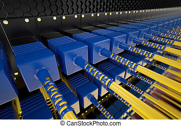 Optic cables. - Closeup on blue and yellow optic fiber...