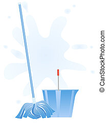cleaning mop - an illustration of a fresh blue mop and...