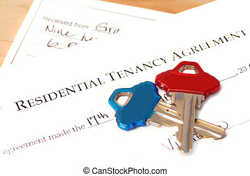 residential tenancy agreement document with blue and red...