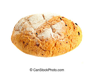 Round shaped fresh bread on the white