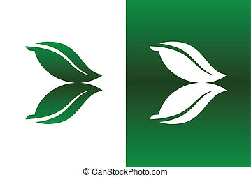 Leaf Reflection Icon Vector Illustration on Both Solid and...