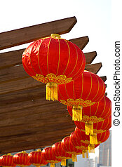 Chinese lanterns in circle as decorations for the Chinese...
