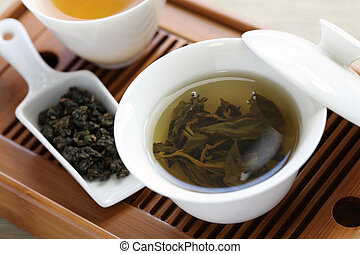 traditional chinese tea ceremony - oolong tea, gaiwan,...