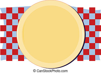 Plate on checkered placemat - Illustration of a plate on a...