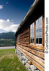 Old Norwegian Log Building - An old log building detail in...