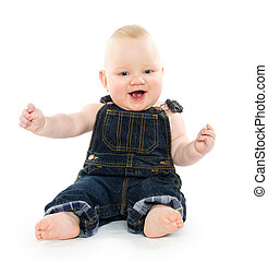 Baby in overalls - Cute baby boy in overalls on white...