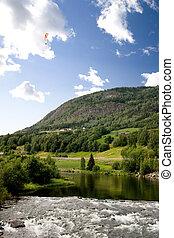 Norwegian Mountain with Parachute - A Norwegian mountain...