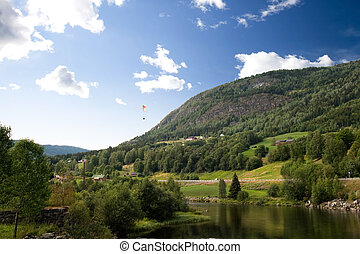 Norwegian Landscape with Parachute - A Norwegian mountain...