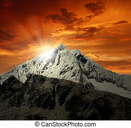Mountain Pisco , Peru - A summit in the Cordillera Blanca -...