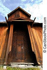 Big Door - A medeival Door made of wood with carvings