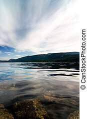 Norwegian Fjord Landscape - view over a norwegian fjord with...