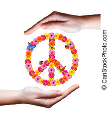 Peace flower symbol in hands