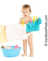 bebê, lavanderia