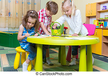 Group of cute little preschool kids playing - Group of cute...