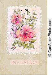 Vintage flower invitation card