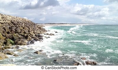 Sea waves hitting the rocks - Beautiful beach with ocean sea...