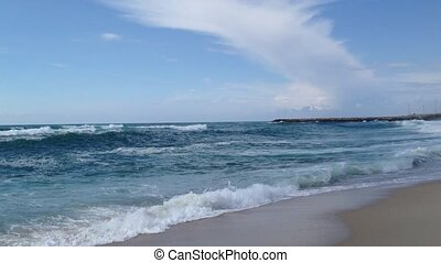 Sea waves - Beautiful beach with ocean sea crashing rolling...