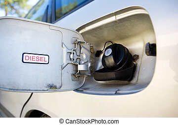 Car Diesel Tank - A diesel tank on a car open and ready for...