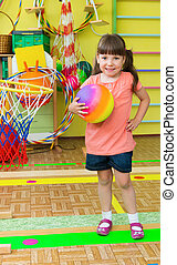Cute little children at daycare gym - Cute little children...
