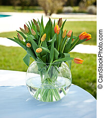 Tulips - Orange tulips on the table in the garden