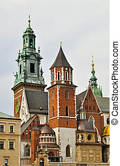 Wawel Cathedral - Old towers of Wawel Cathedral in Kracow,...