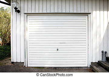 Garage Door - A white garage door abstract