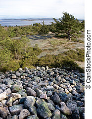 Viking Grave - View towards the ocean from a viking grave in...