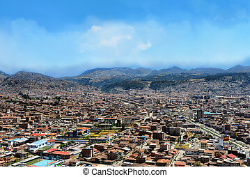 Cusco cityscape - Urban landscape of Cusco, Peru. A view...