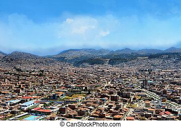 Cusco cityscape - Urban landscape of Cusco, Peru. A view...