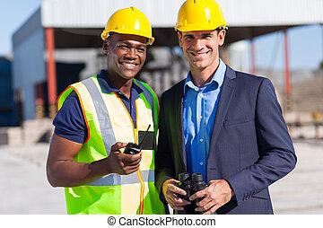 gerente, construção, trabalhador, africano