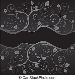 Luxury black silver swirls borders