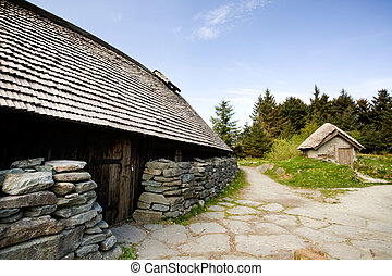 Viking Farm - An old norwegian viking farm with two typical...