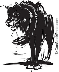 Big Bad Wolf - Woodcut style image of a big black wolf.