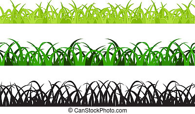 Set of Three Grass Border Pieces, Vector, Seamless