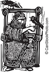 Odin on Throne - Woodcut expressionist style image of the...