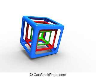 red green and blue wire cubes