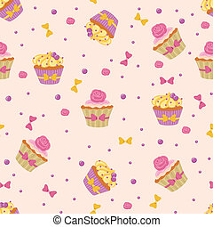 Seamless Cupcakes - Seamless pattern made of yummy cupcakes