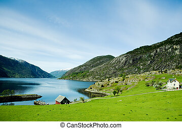 Rural Norway - A fjord and rural norway with a blue sky