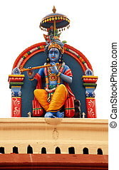 Hindu deity at Sri Mariamman Temple in Singapore - Close up...