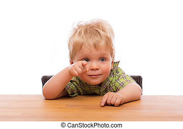 Little child pointing finger to someone - Cute young boy...