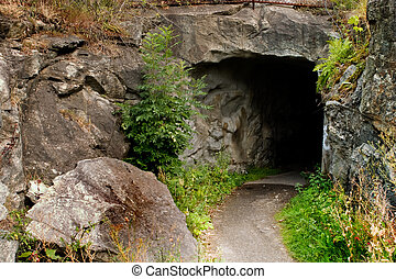Cave - A path leading into a dark stone cave