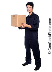Young boy delivering parcel - Young guy in uniform...