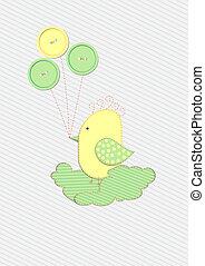 Scrapbook bird with buttons design